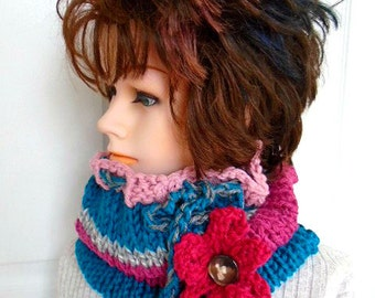 Women's Knit Cowl Scarf- KNITTING PATTERN- Flower Pattern - fits teens and women, Easy Beginner -  Flat Knit Pattern, #878