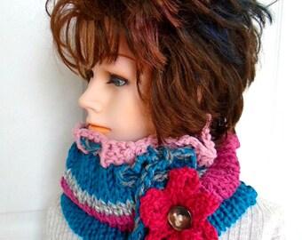 Women's Knit Cowl Scarf- KNITTING PATTERN- Flower Pattern - fits teens and women, Easy Beginner -  Flat Knit Pattern, #878