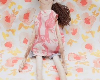 Rag Doll with Girls Print Dress