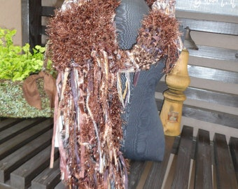 Hand Knit Scarf      Art Yarn Scarf