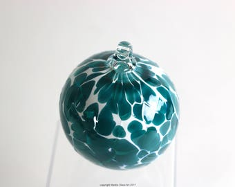 Blown Glass Turquoise and White Ornament, Turquoise Christmas Ornament, Blue Ornament, Christmas Tree Ornament, Blown Glass Ornament