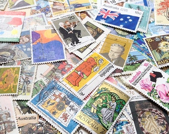 100 Postage Stamps - Vintage Australian Paper Ephemera - Resin Jewellery Scrap Booking Mixed Media Collage Paper Crafts