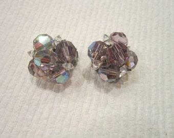 Antique Aurora Borealis Cut Crystal Ladies Earrings