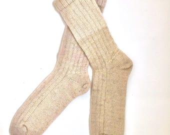 Handmade Wool Socks 424 -- Women's Size 10-12 or Men's Size 8-10