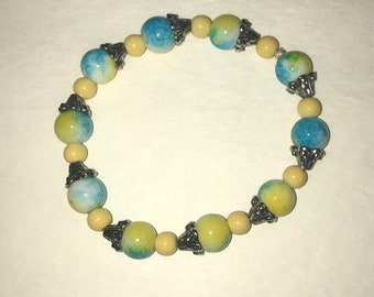 Blue Turquoise and Yellow silver bead stretch bracelet
