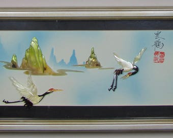 Vintage|Oriental|Chinese|Mother of Pearl Shell|Wall Art Shadowbox Panel|Flying Cranes and Mountains