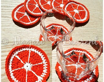 6 orange coasters perfect for summer