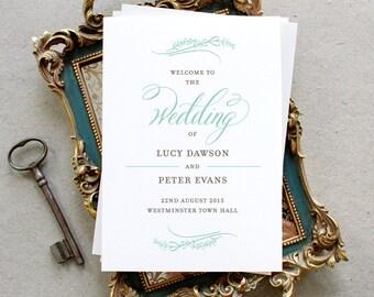 Printable Wedding Program PDF / 'Classic Calligraphy' Elegant Folded Program / Mint Grey Gray / Digital File Only / Printing Also Available