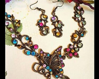 "Spring ""Fantasy in Flight"" ~  Magical Butterfly Fairy Necklace Set ~ Colorful Rhinestones w Matching Earrings Faeries, Fairy Jewelry"