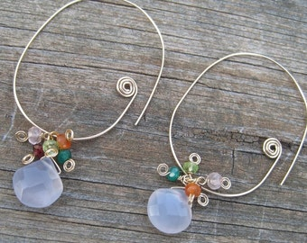 Oval Hoop Earrings- Chalcedony, Gemstone Cluster, Gold Filled or Silver
