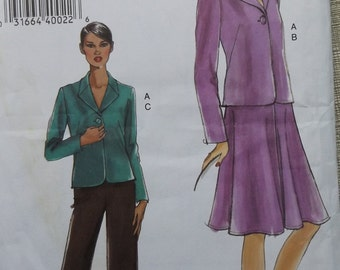 Jacket, Flared Skirt and Straight Leg Pants in Sizes 16 to 22 Complete Uncut/FF Very Easy Vogue Sewing Pattern V8133