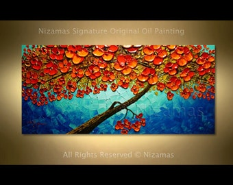 Painting on canvas Red Tree Landscape Abstract Palette Knife art by Nizamas