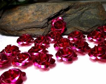 50 Fuchsia Rose Cabochons/Beads