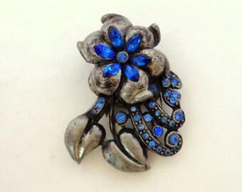 Blue Rhinestone Dress Clip Silver Pot Metal