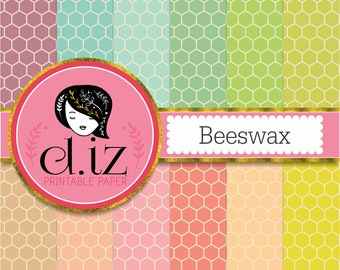 Honeycomb digital paper 'beeswax' honeycomb pattern in vintage colors x 12