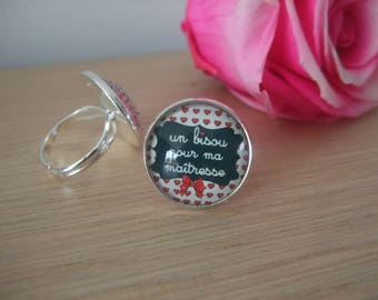 """Ring cabochon """"kisses for my teacher"""""""