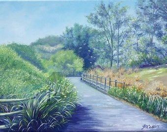 """Spring At the Oso Creak Trail, an original realistic oil painting by Yoko Collin,  canvas, 11""""x14""""オリジナル風景油彩画"""
