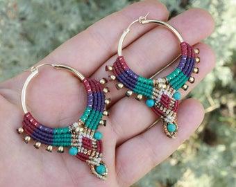 large tribal hoop earrings, ethnic earrings, boho hoops, macrame earrings, makrame, bohemian earrings, beaded earrings, hippie earrings