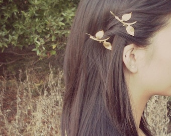 Gold Leaf Branch Bobby Pins Bridal Hair Clips Botanical Nature Garden Rustic Woodland Wedding Accessories Vintage Style Womens Gift For Her