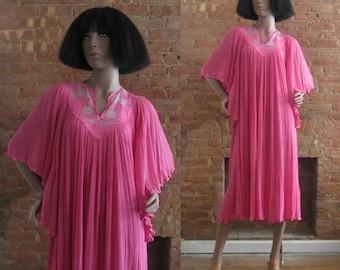 1970s rose pink boho cotton gauze dress