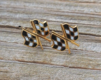 Racetrak Flag Earrings 14K gold post