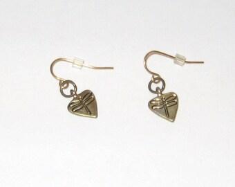 Pretty Little Antique Gold Pewter Dragonfly Teardrop Earrings