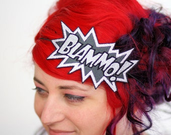 Blammo comic headband Grey and White embroidered