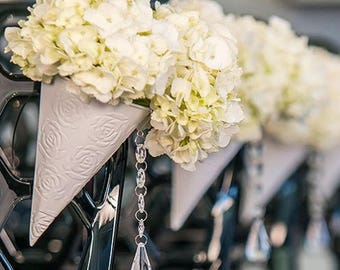 Wedding Flower Cones with Embossed Rose Pattern - Hang on Ceremony Aisle Chairs Pews - Bouquets Church Decorations - Set of 4 - MW16290