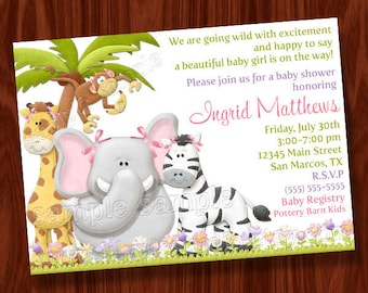 Jungle Girl Baby Shower Invitation PRINTABLE Digital File