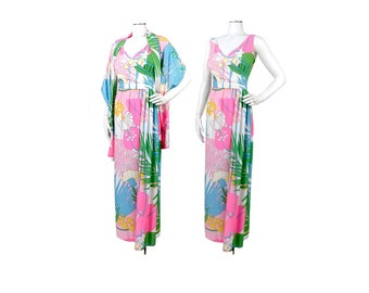Vintage 70s Dress - 70s Maxi Dress - 70s Party Dress - 70s Psychedelic Dress - 70s Floral Dress - 70s Evening Gown - Pink Green Blue - M - L