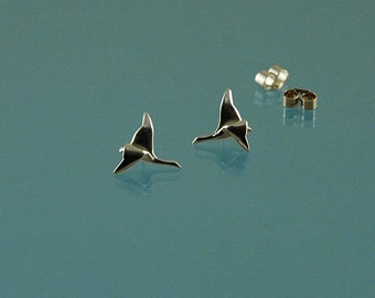 Geese in Flight - Stud or pole hand-made earrings in solid 925 Sterling silver inspired by nature