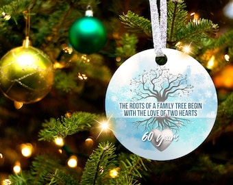 60th Anniversary Tree of Life Christmas Ornament Gift for 60th Wedding Anniversary