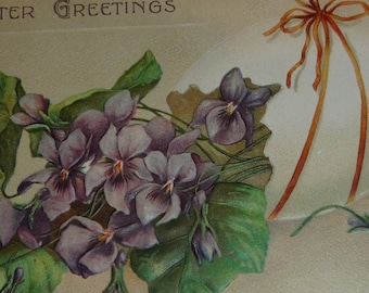 Bunch of Violets With Easter Egg Antique Postcard