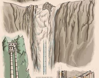 Snoqualmie Falls, Washington - Engineer Drawings (Natural) - Lantern Press Artwork (Art Print - Multiple Sizes Available)