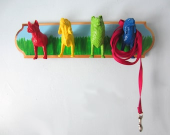 Upcycled Toy Wall Peg Rack with Rainbow Dog Hooks