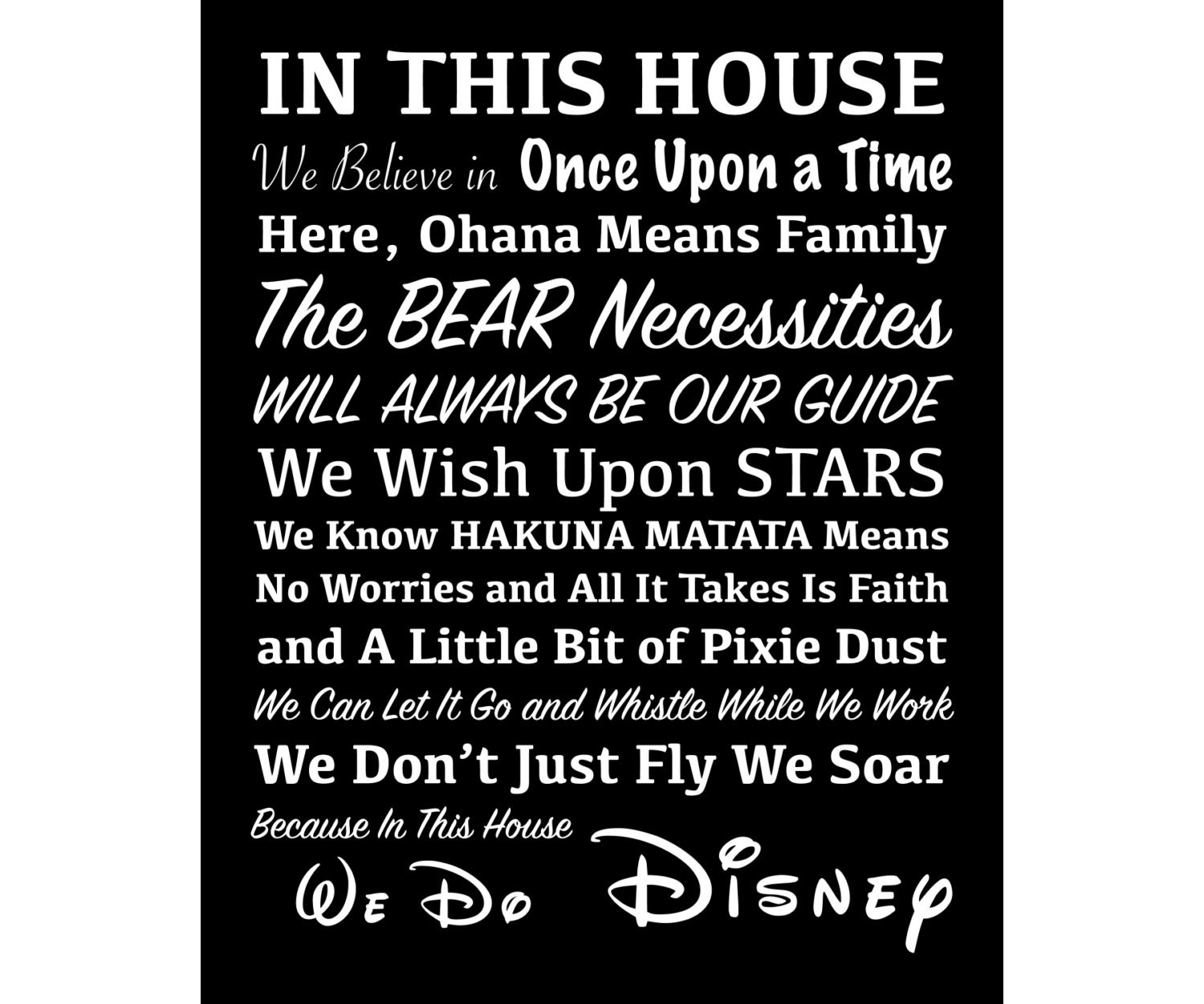 Disney Quote Plaques: In This House We Do Disney We Believe In Once Upon A Time