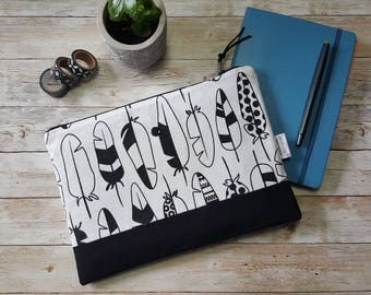 Planner pouch | notebook case | large zippered bag | bullet journal | black and white | feathers | accessory bag |  | A5 journal bag