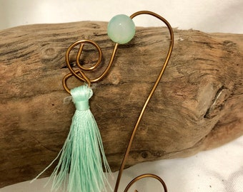 Green Agate Copper Bookmark with Tassel