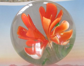 Vintage Glass Paperweight Orange Lily Flower Bright and Beautiful