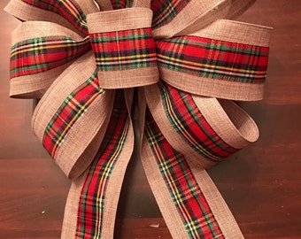 Plaid and Burlap Christmas Bow