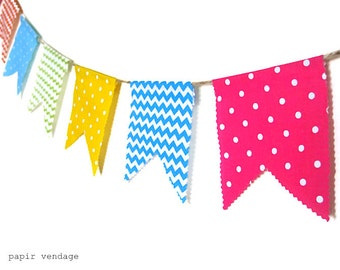 Chevron & Polka Dots Bunting Banner, Spring Bunting Banner, Colorful Banner, Birthday Bunting, Birthday Photography Prop, Colorful  Garland