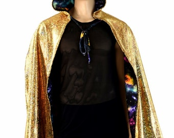 """Unisex 35"""" Long Reversible Hooded Cape Cloak Gold on Black Shattered Glass over UV Glow Galaxy Print 154192"""