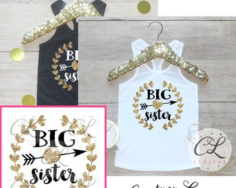 Big Sister Tank Top Shirt / Baby Girl Clothes Big Sister Outfit Matching Little Sister Sibling Set Toddler Pregnancy Announcement Shower 003
