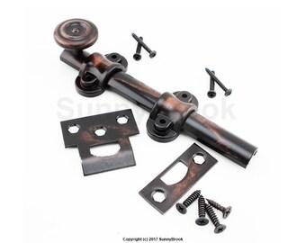Barn Door Lock Hand Rubbed Bronze - slide lock - dutch bolt