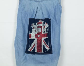 Upcycled denim vest Tardis Union Jack