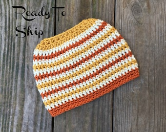 Ready To Ship Messy Bun Mustard Burnt Pumpkin Gold Ivory Messy Bun Crochet Hat Beanie Women's Crochet Hat Winter Accessories Gifts For Her