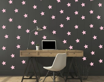 FREE SHIPPING Wall Decdal Pastel Pink Stars.A Large Amount 125 stars.Home Decor.Diy Wall Sticker.
