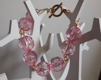 Bracelet chain rose gold and pearls transparent roses