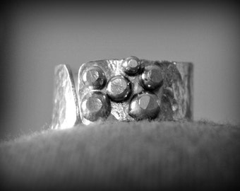 "Adjustable Sterling Silver Wide Band Ring - ""My Universe"""