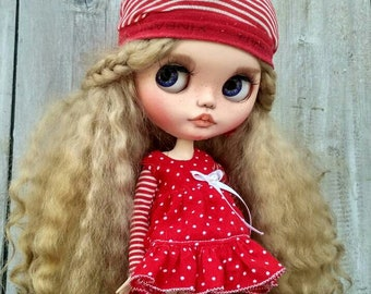 Fibi ooak doll Custom Blythe doll collectible doll Blythe doll Blythe custom ooak mohair weft